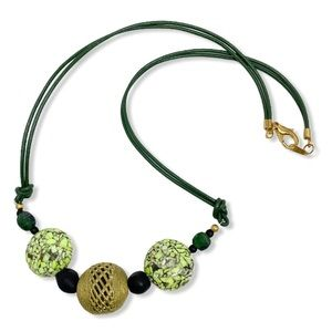 Necklace Ghana Brass Glass Bead Leather Green NEW